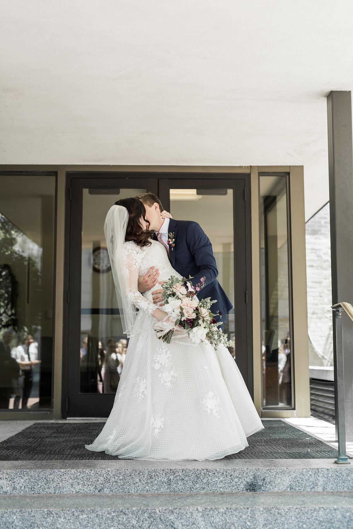 bride and groom temple exit Salt lake city lds temple