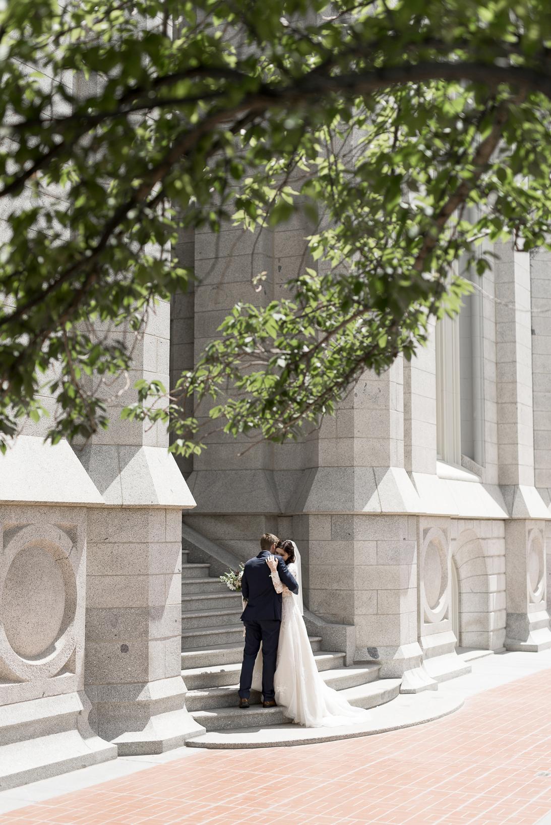 wedding portrait on salt lake city temple steps
