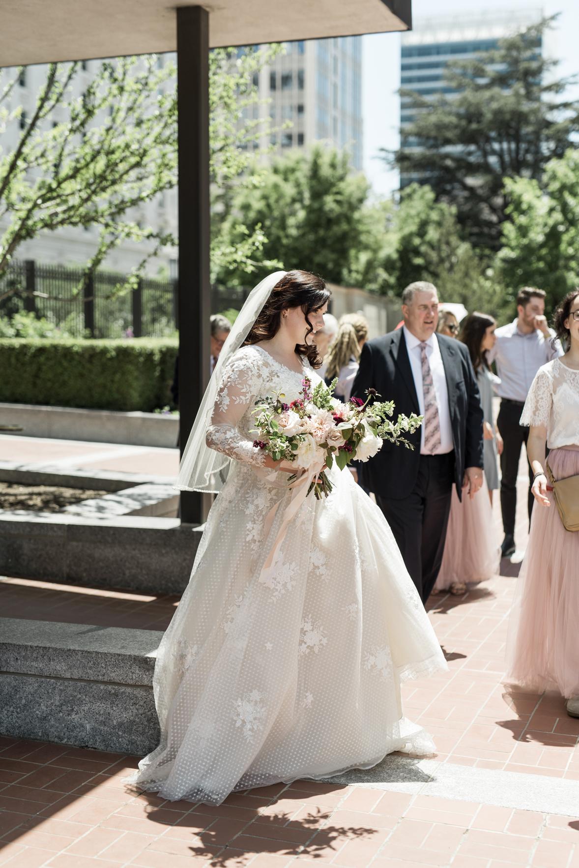 bride with her bridesmaids salt lake city lds temple
