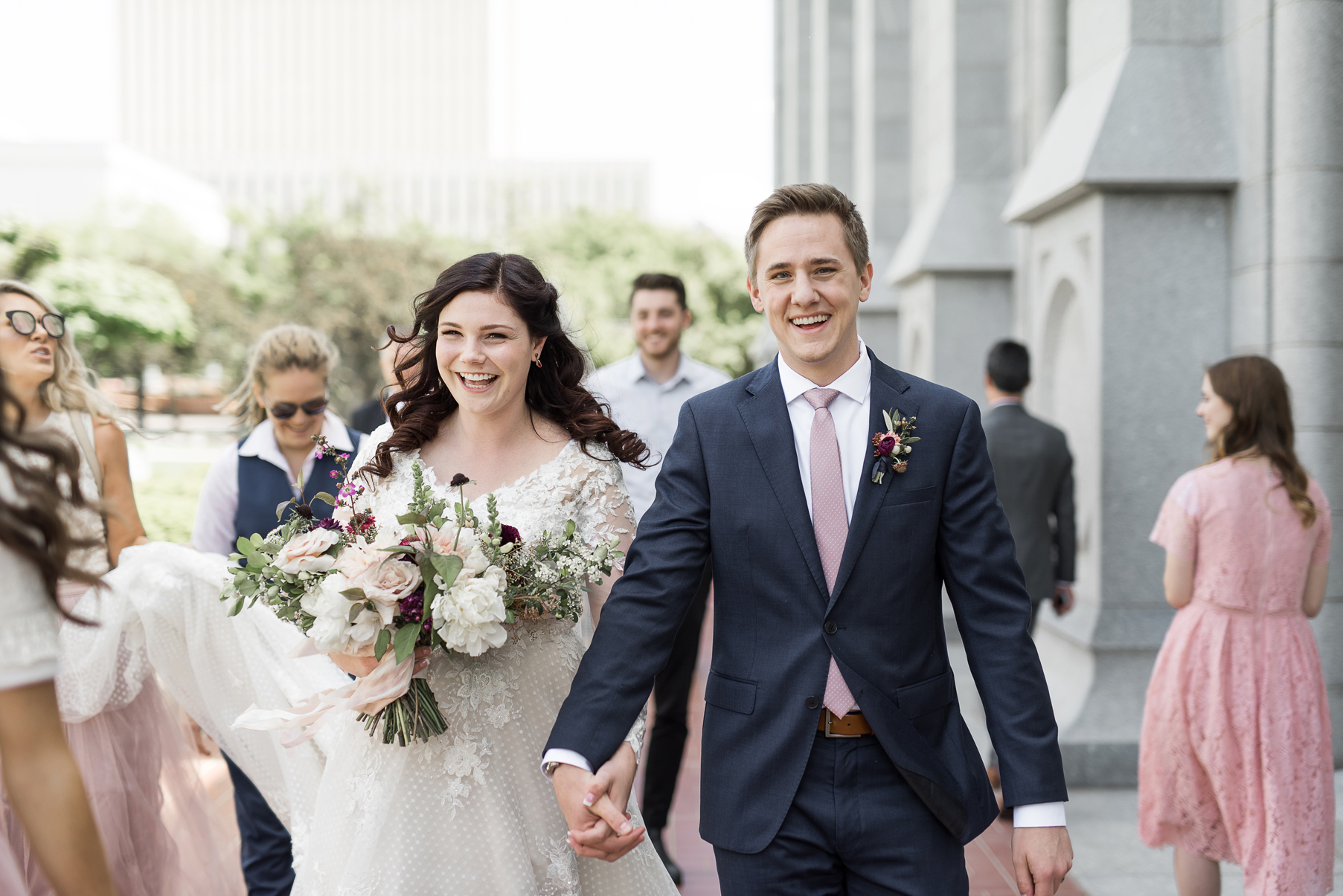 bride and groom at the salt lake city lds temple
