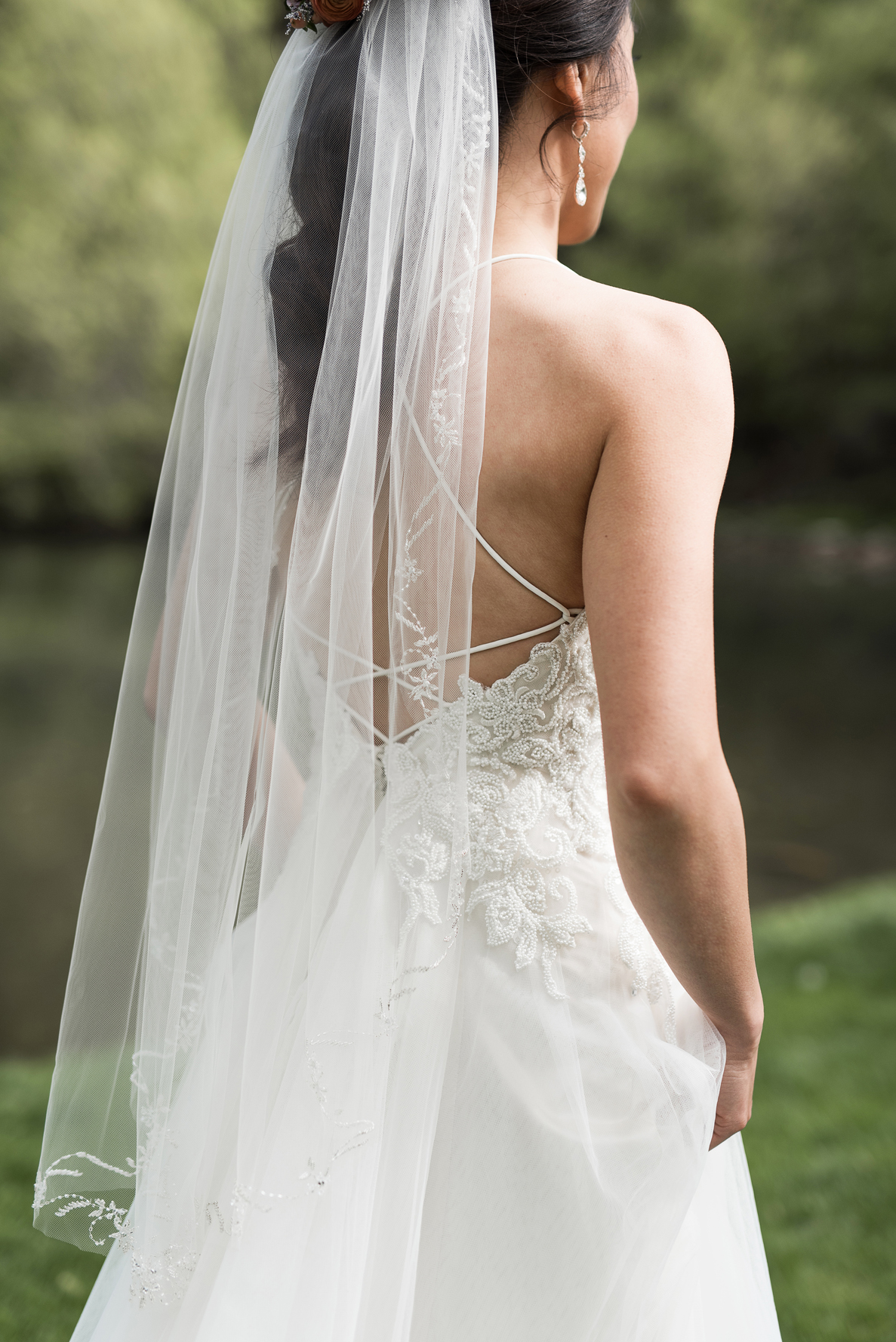 strappy wedding dress back in the mountains