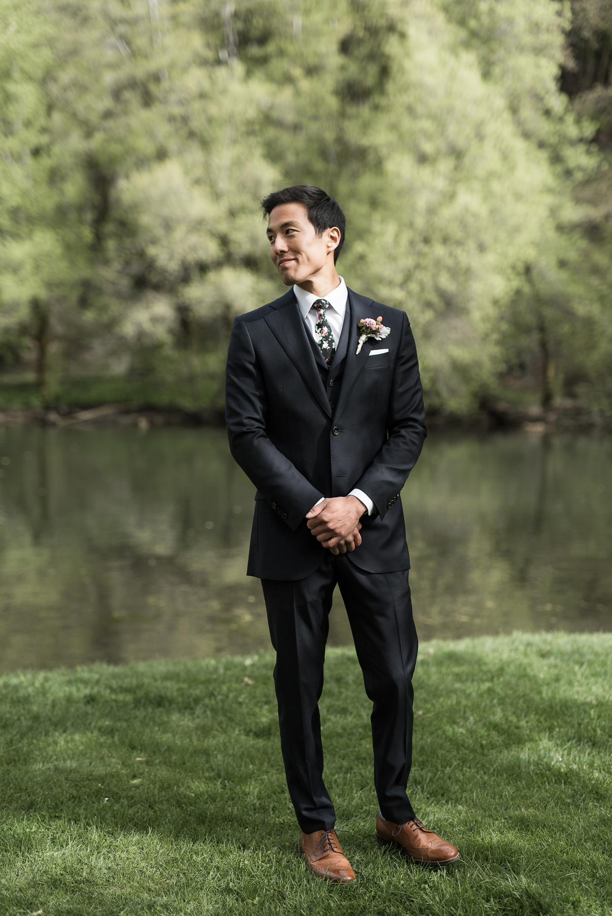 groom's reaction during the wedding day first look