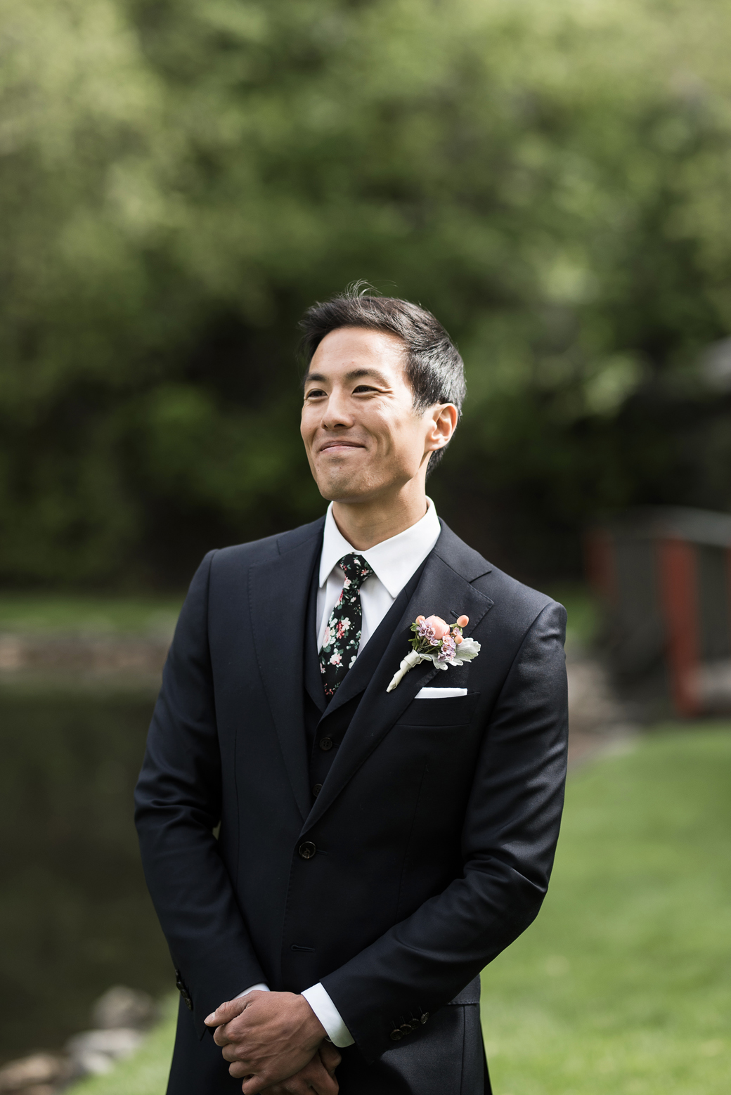 emotional groom during wedding first look in millcreek canyon