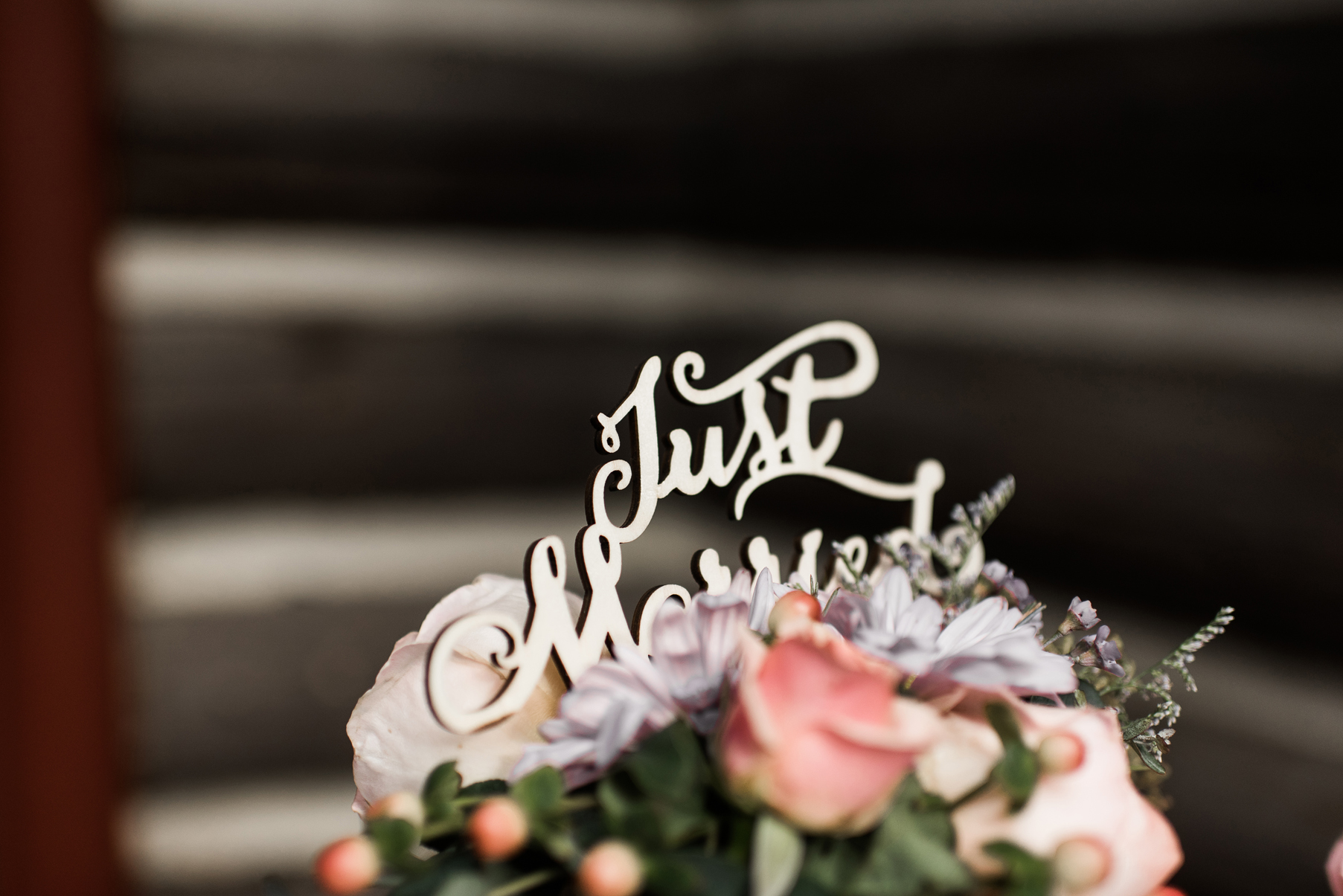 just married cake topper mountain wedding