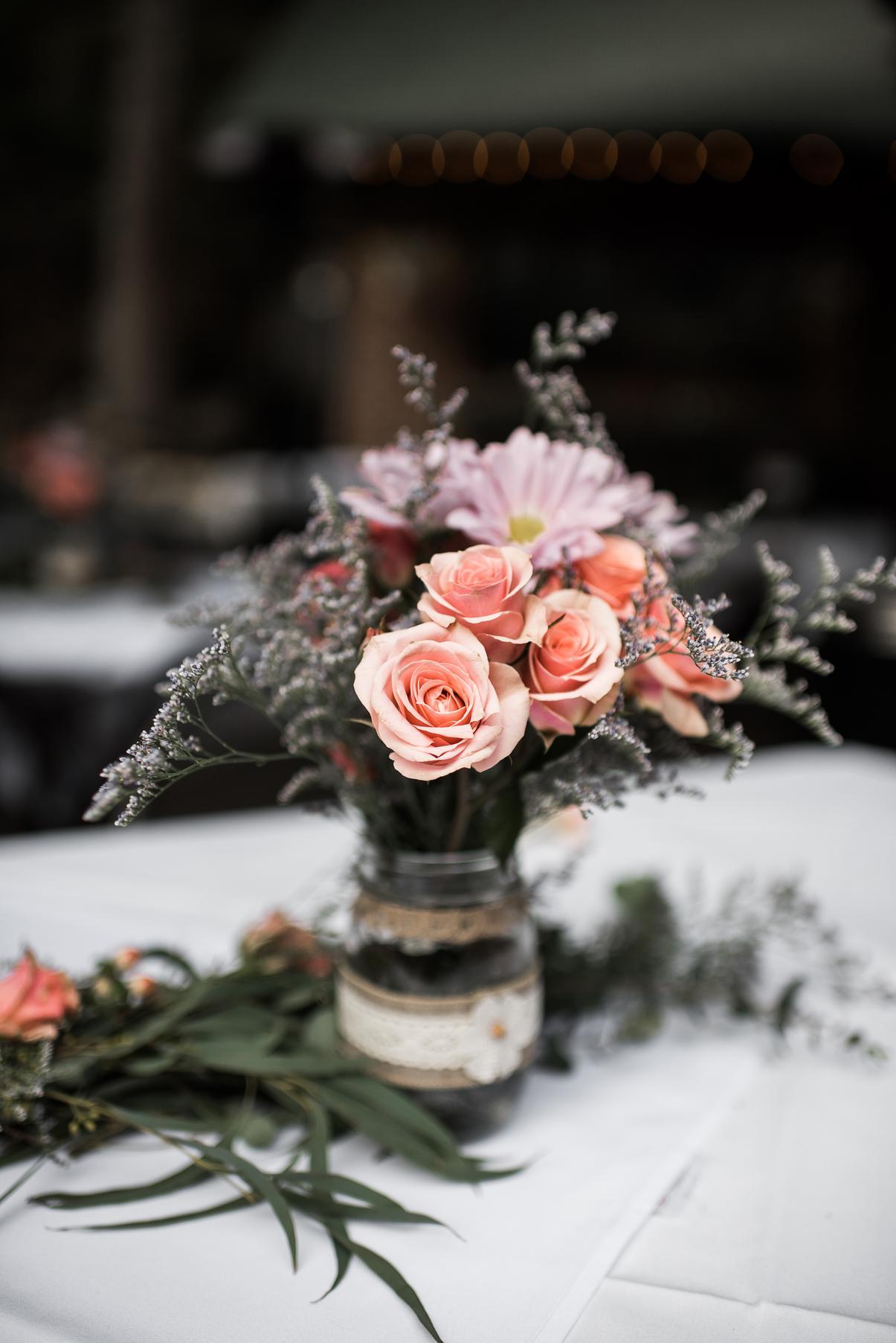 rose wedding centerpieces log haven millcreek canyon