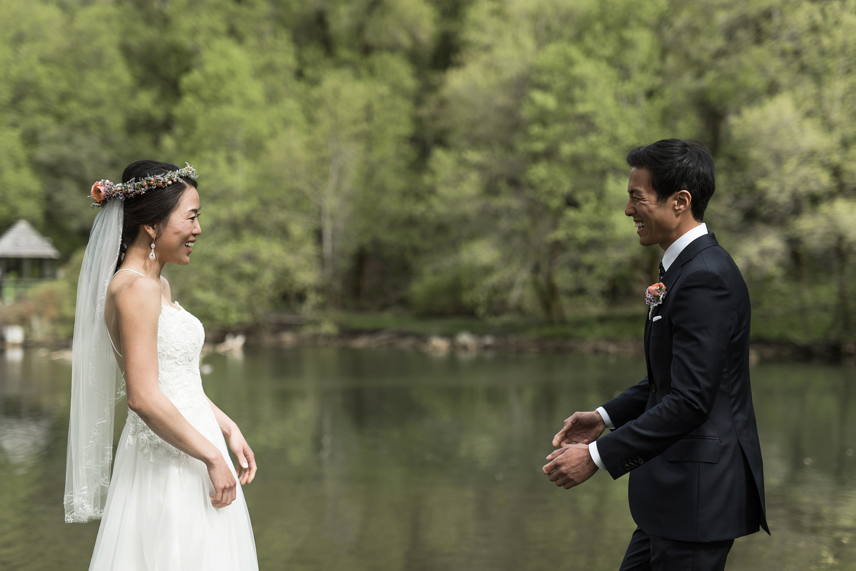 candid wedding first look in millcreek canyon, utah