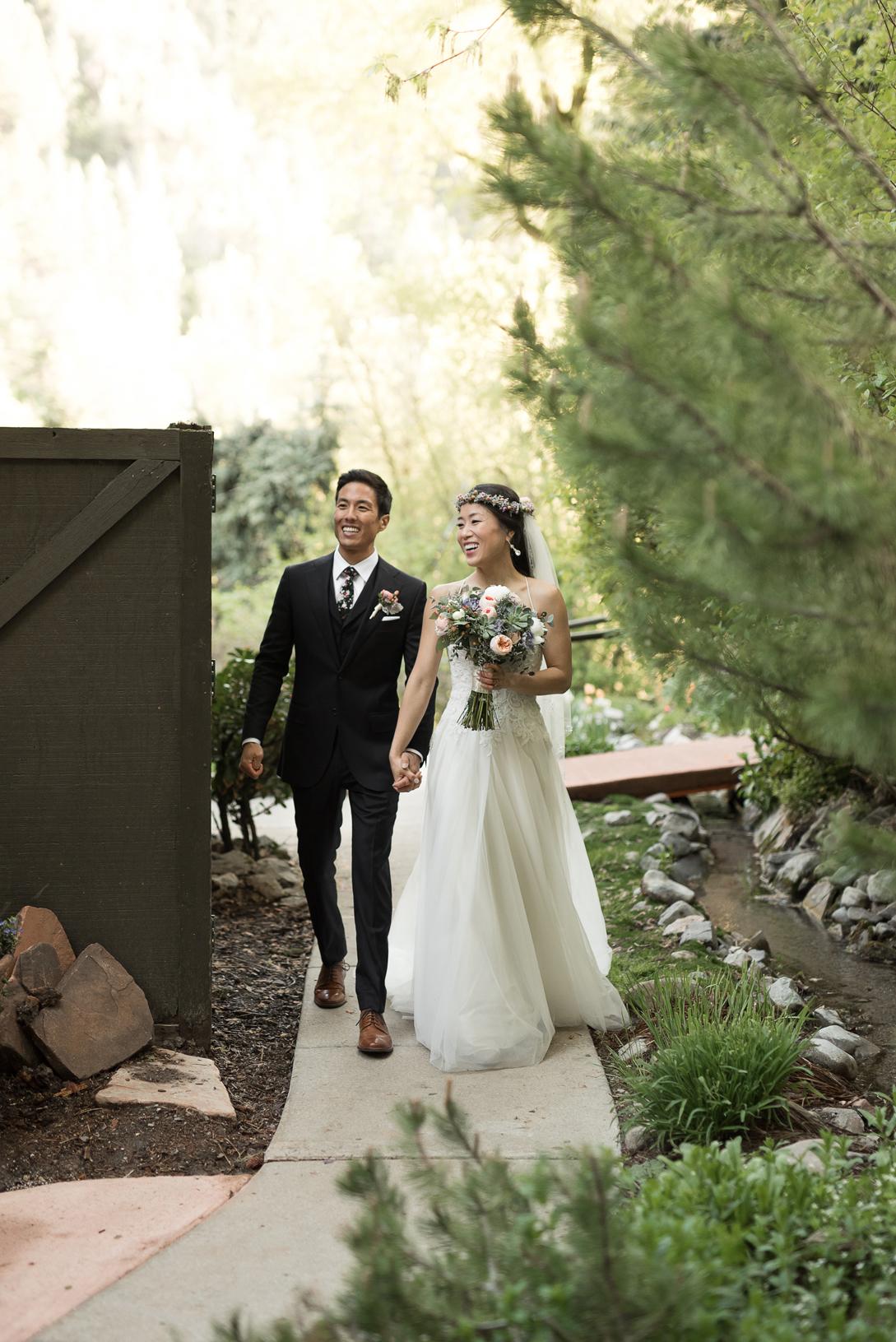 bride and groom grand entrance log haven utah