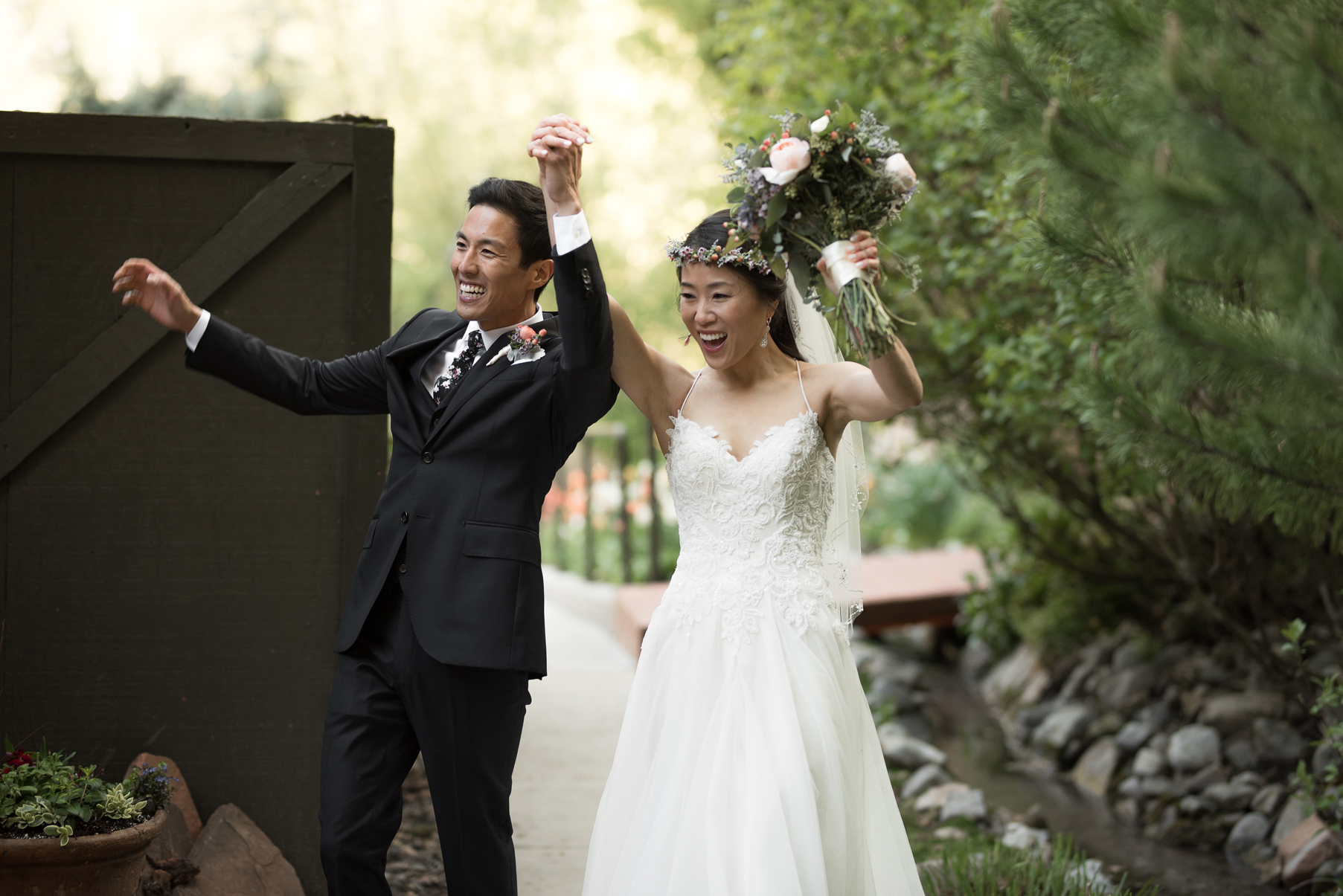 bride and groom grand entrance log haven utah