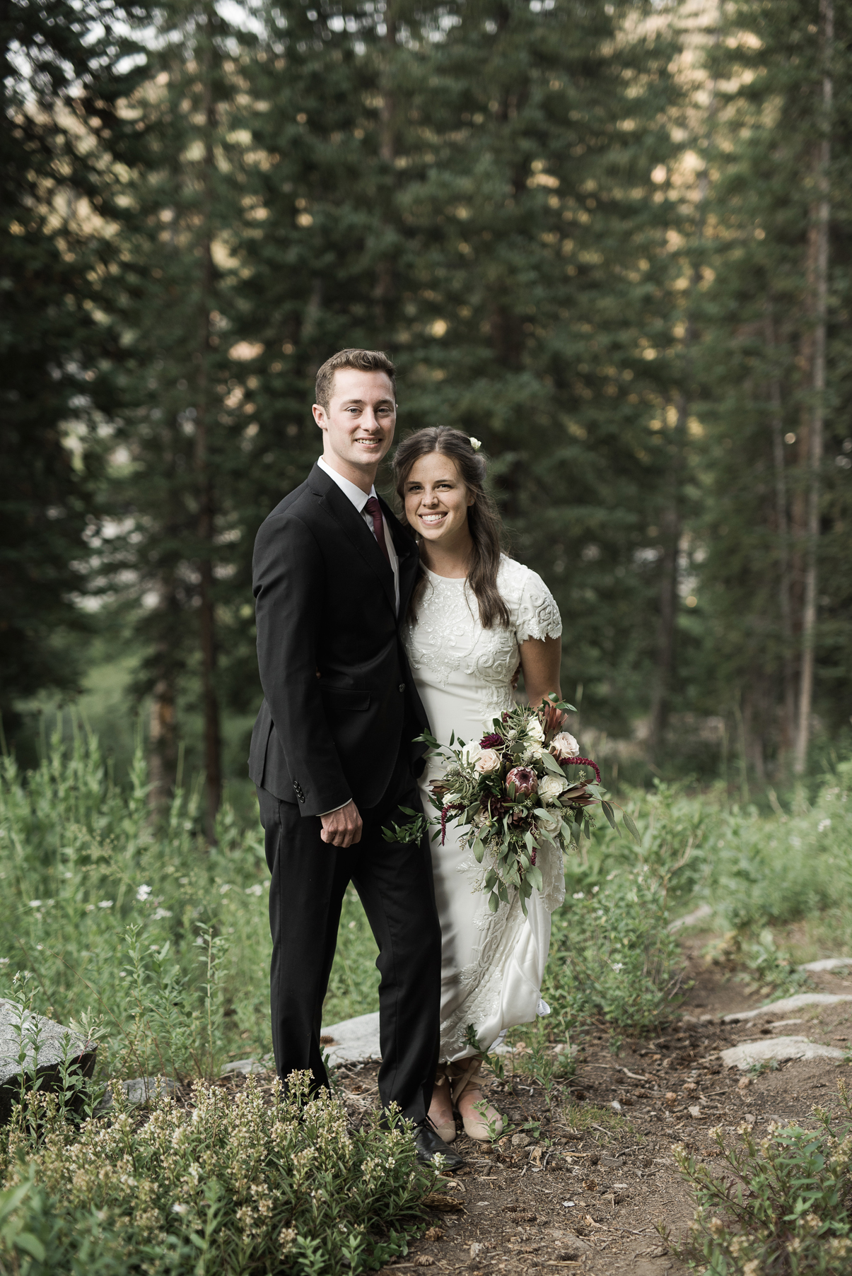 posed portrait of bride and groom together
