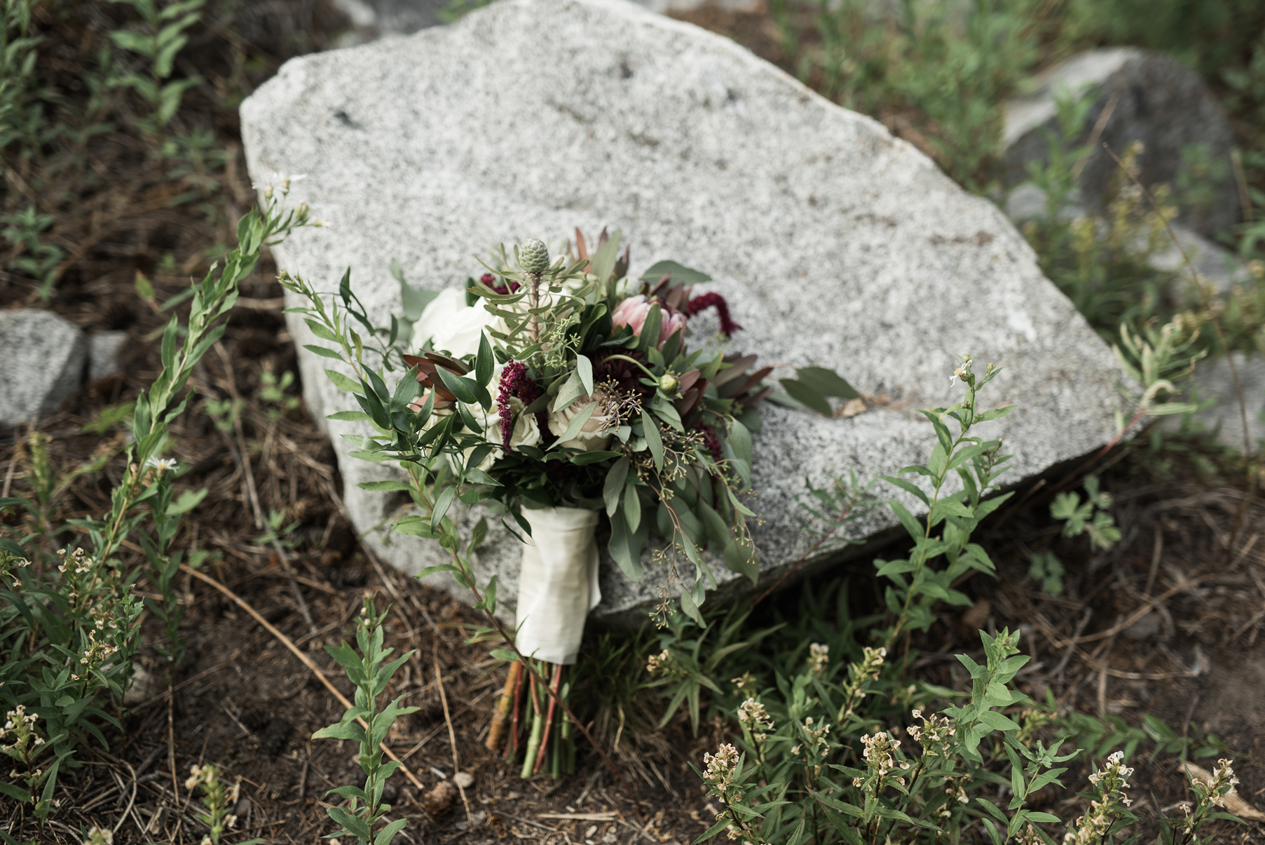 natural wedding bouquet in the mountains
