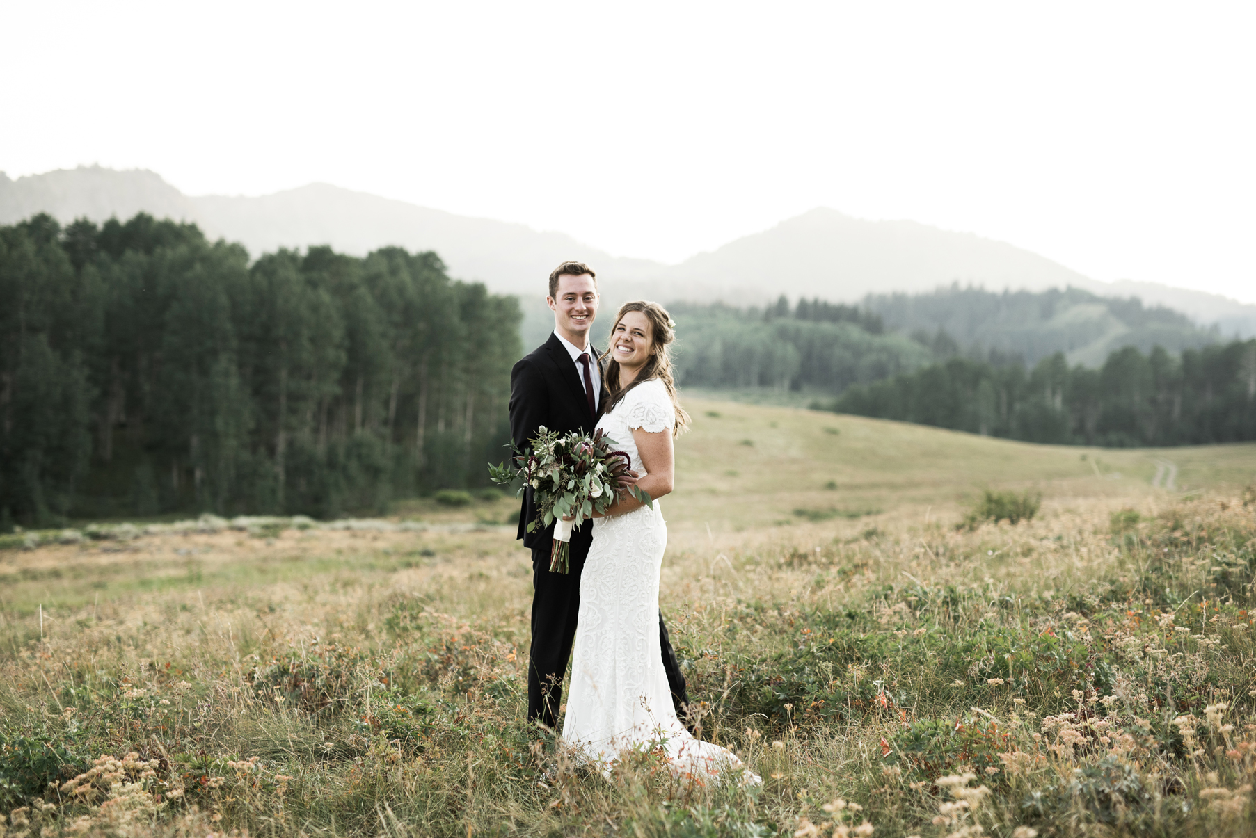 bride and groom in guardsman pass
