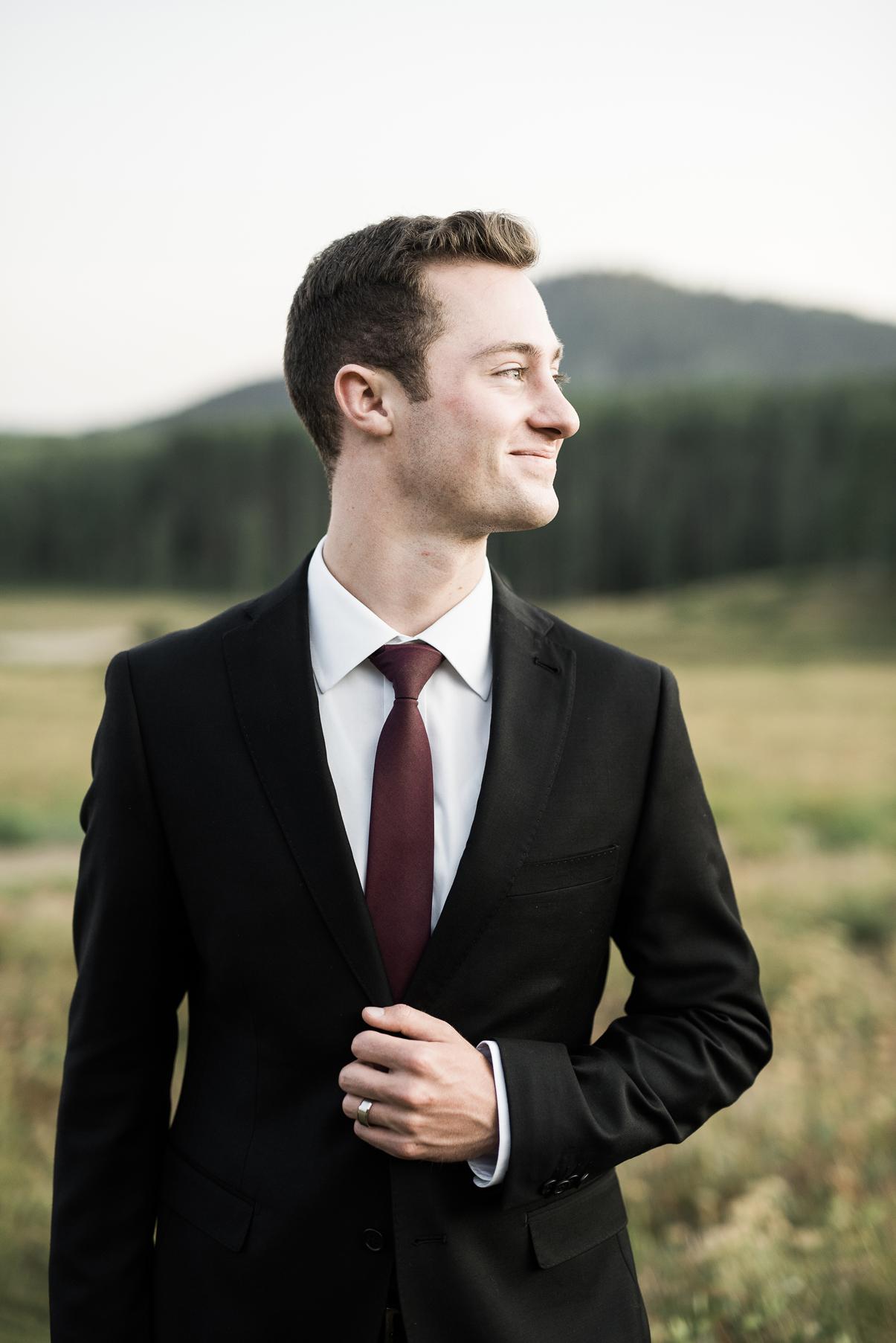 handsome groom at park city wedding