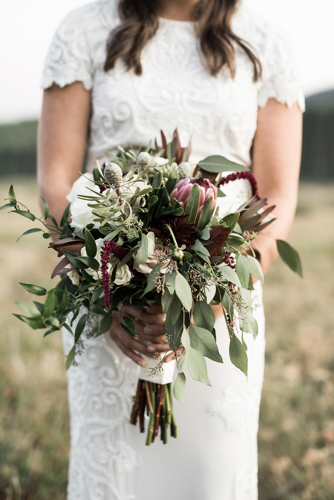 bridal bouquet filled with greenery