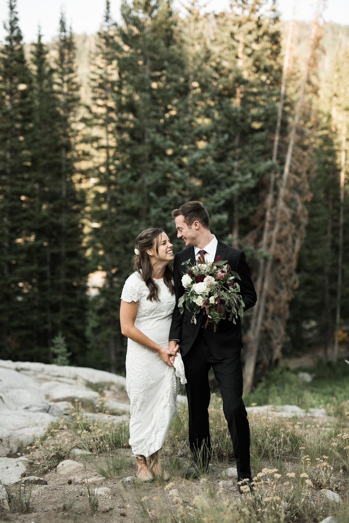 couple together in big cottonwood canyon utah