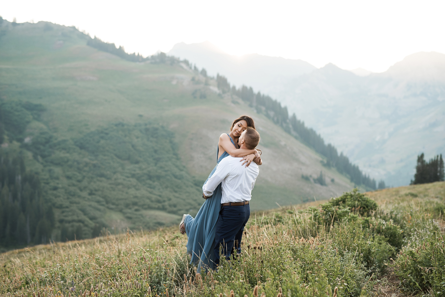 bride and grooms sweet hug in albion basin