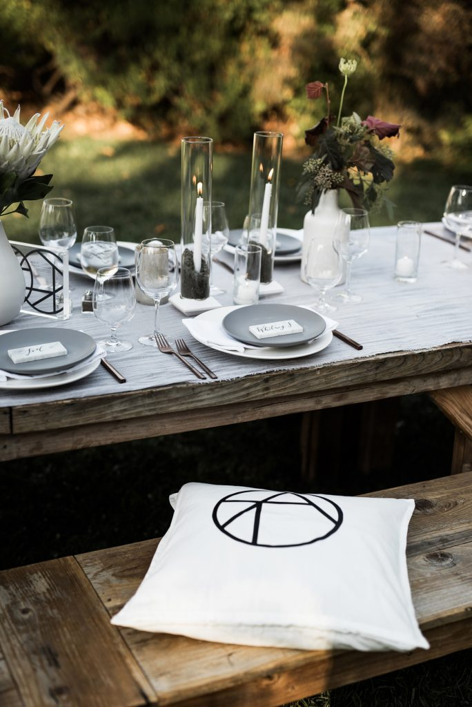 monochromatic modern wedding table with custom made details