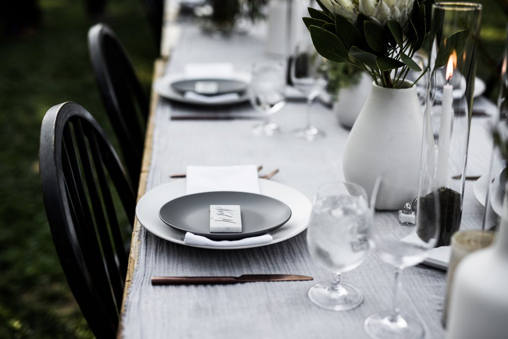 black and grey minimalist wedding table decor