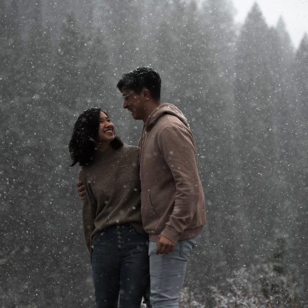 Isaac and Dawn's snowy engagement in the mountains