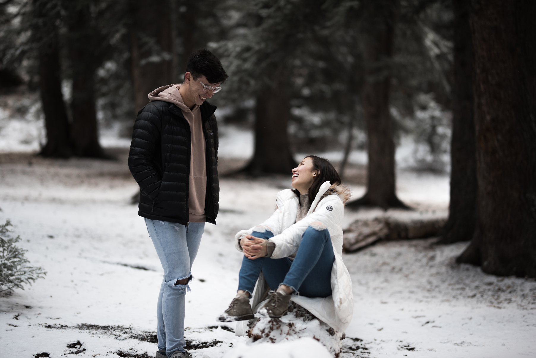couple hanging on a snowy log