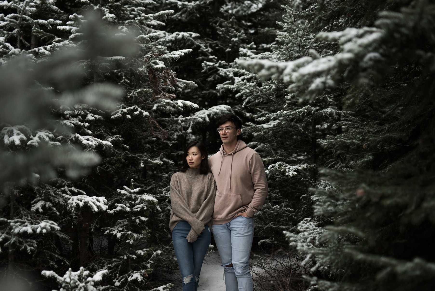 couple together in a thick grove of snowy pines