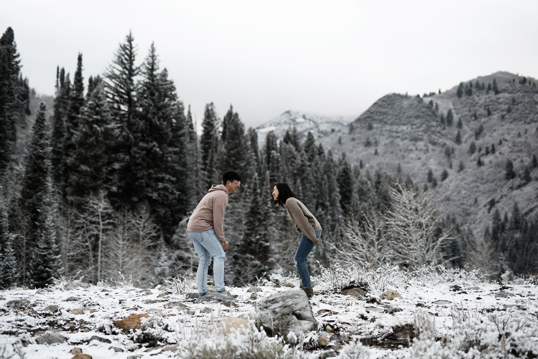 couple dancing around in utahs mountains