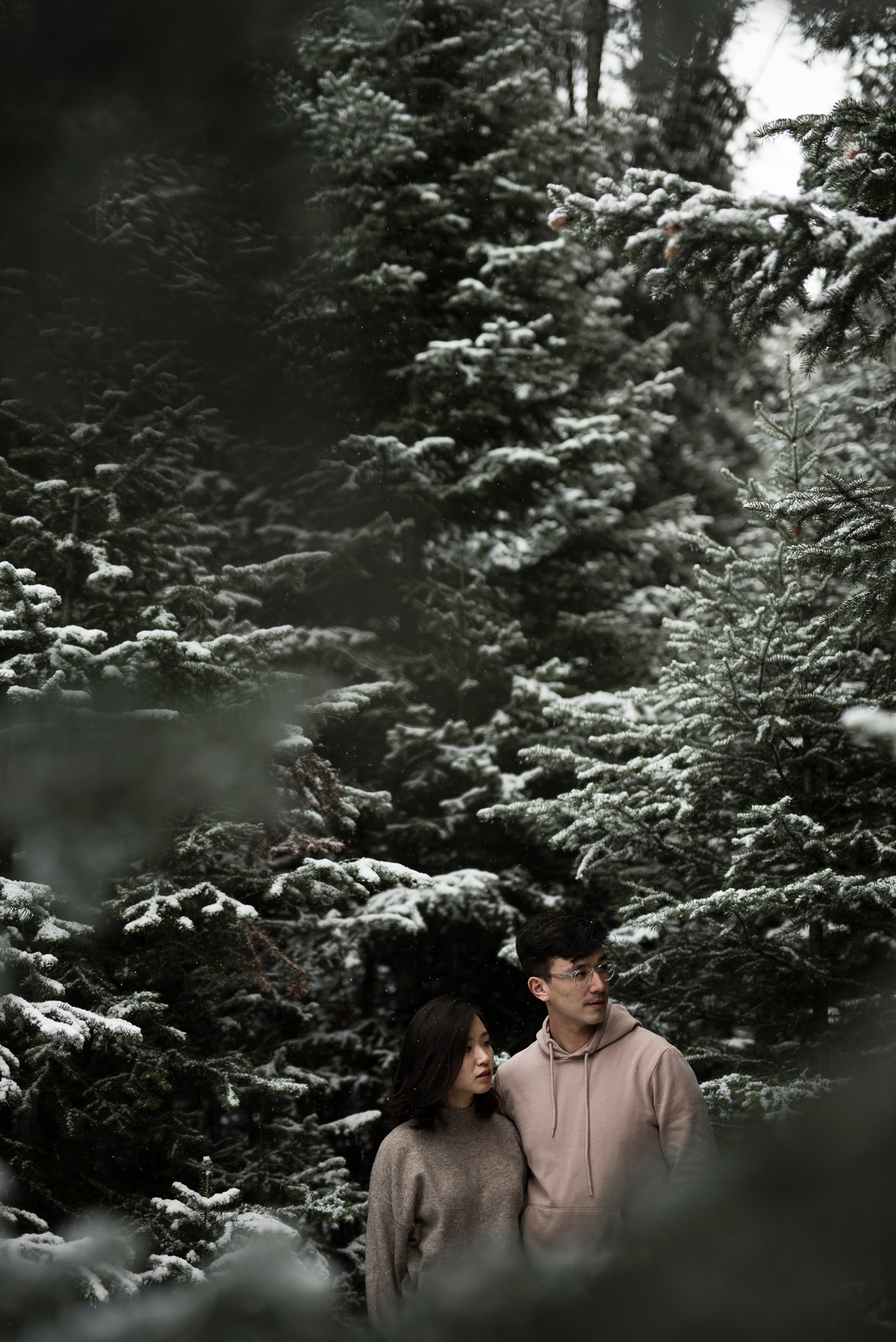 couple together in thick snowy pines