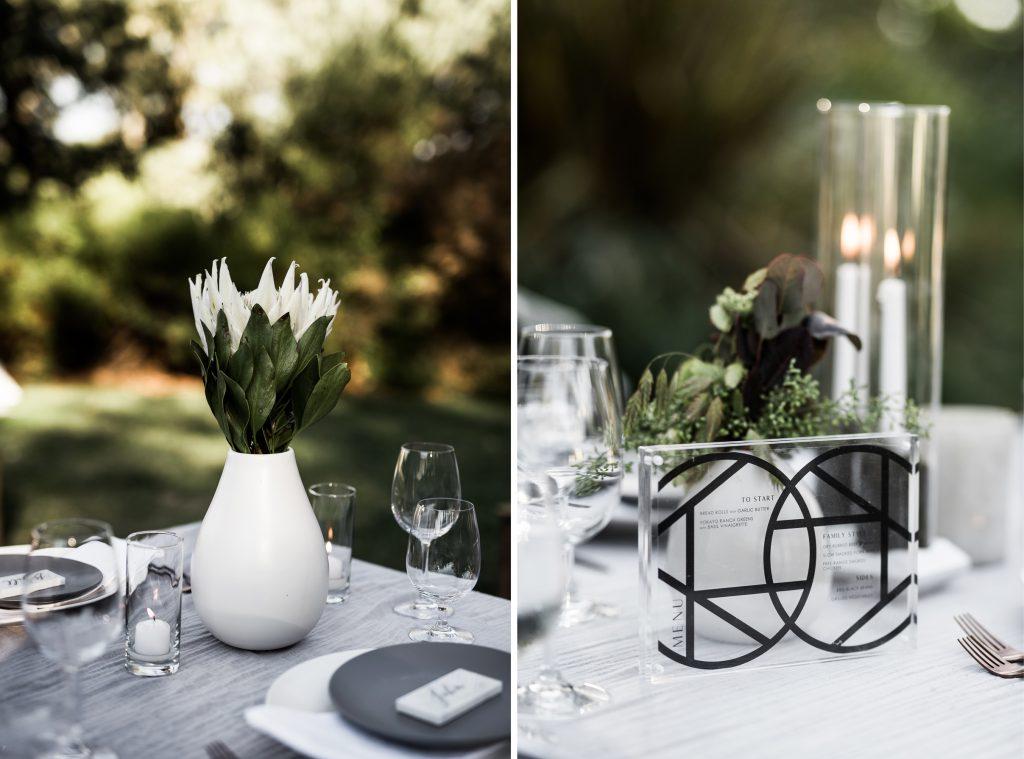 modern plexiglass wedding menu