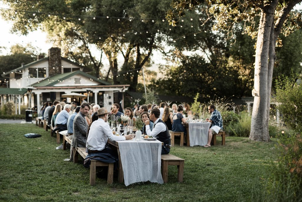candid wedding dinner at yokayo ranch, ukiah
