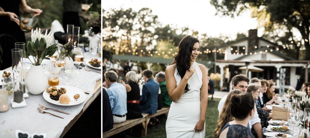 candid wedding dinner at yokayo ranch