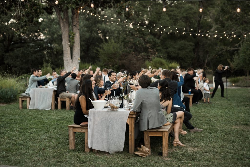 guests toasting to the bride and groom during their dinner