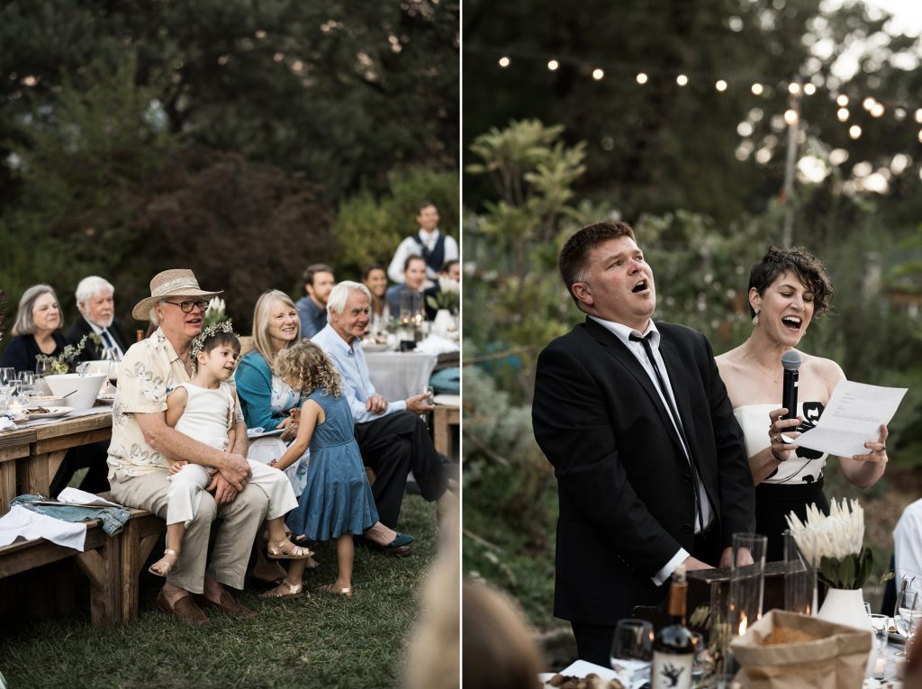 bride and grooms loved ones giving a funny wedding speech