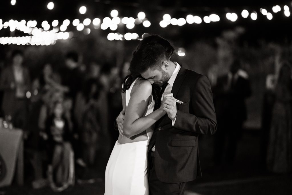 intimate moment between a bride and groom during their first dance