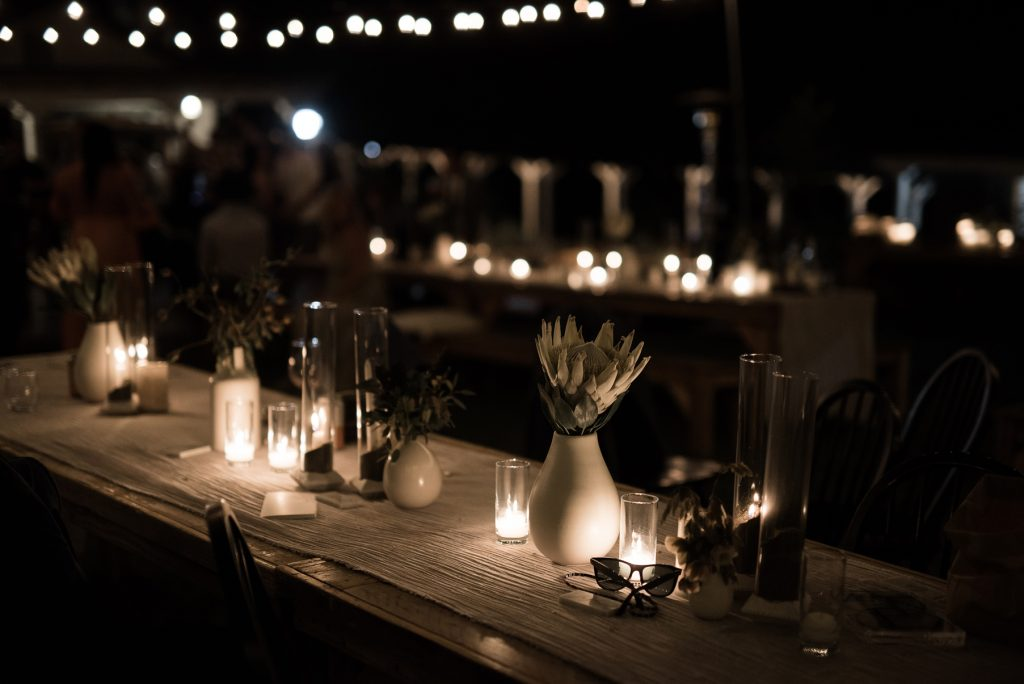 dark and moody reception tablescape