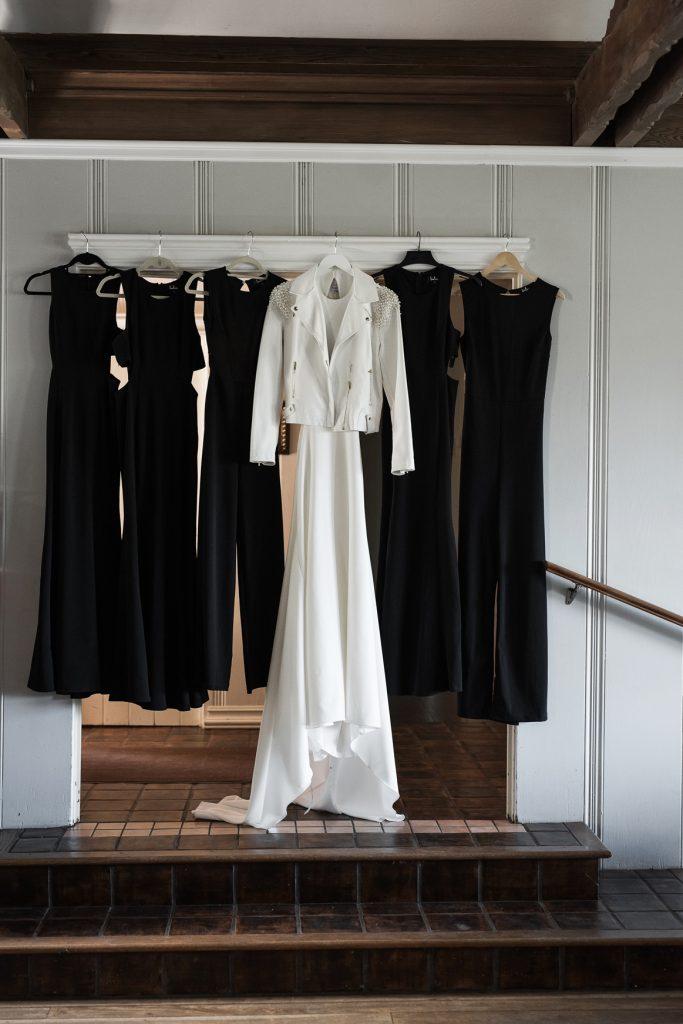 minimalist black jumpsuits for bridesmaids