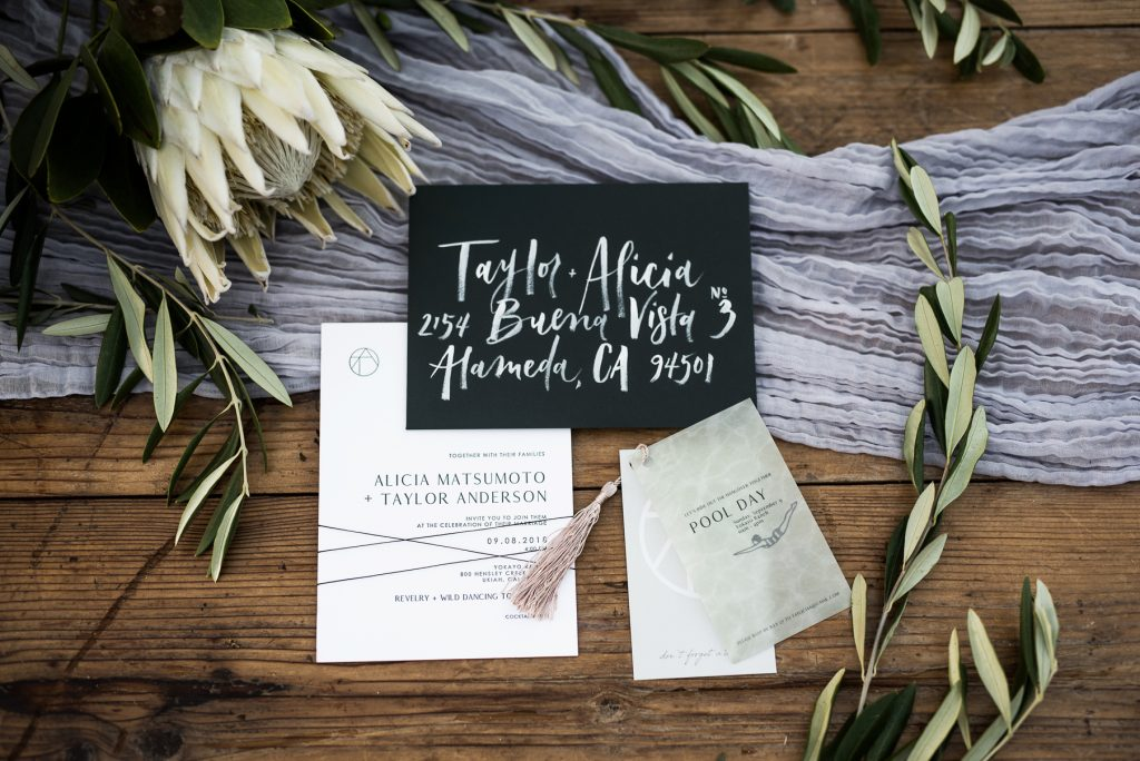 trendy minimalist wedding stationary in california