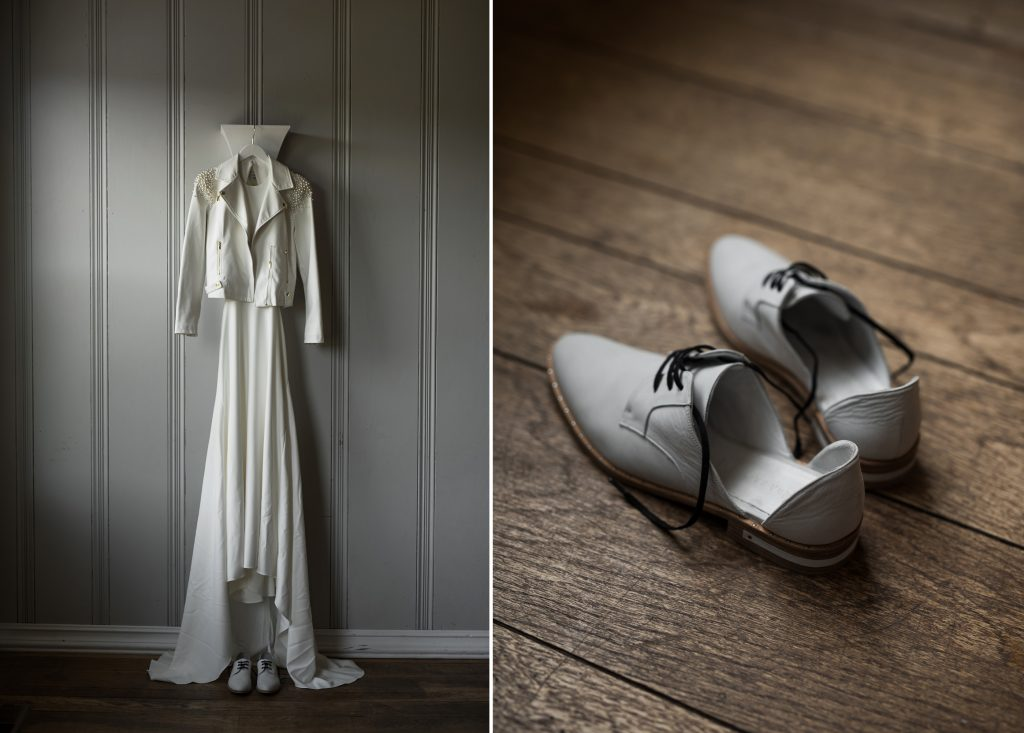 modern minimalist wedding gown and shoes