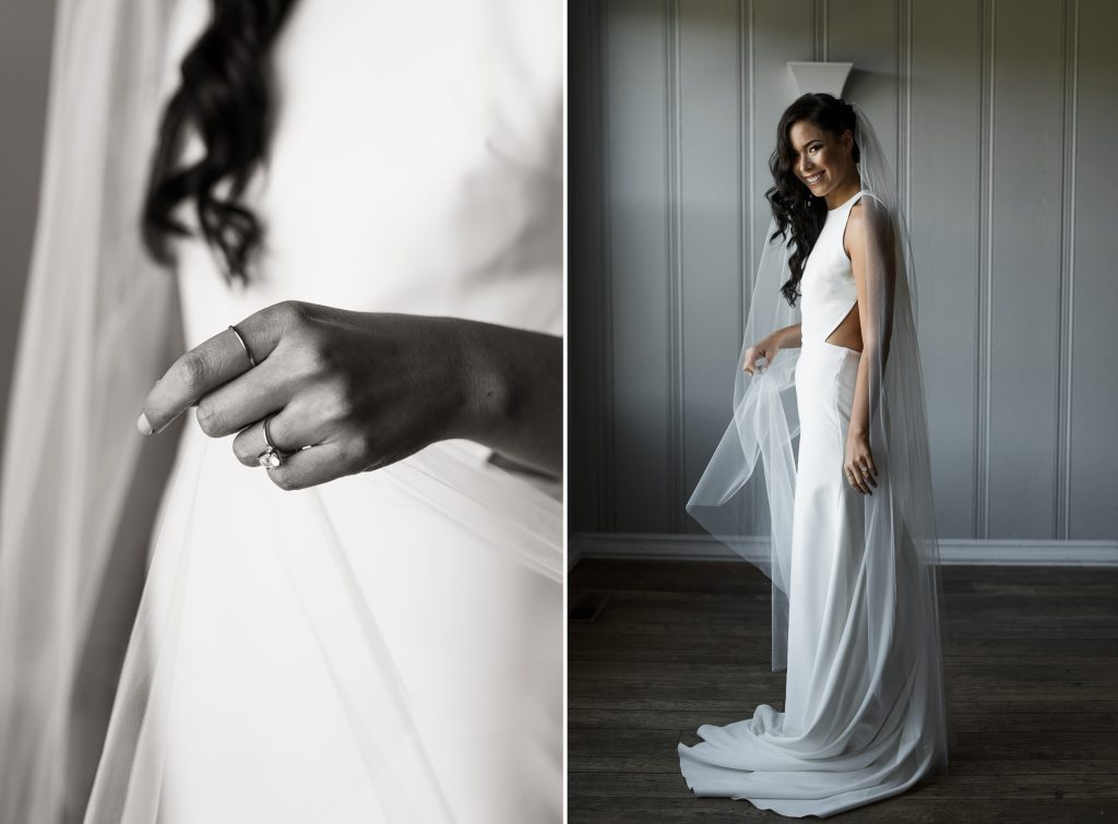 bride in her minimalist sarah seven gown