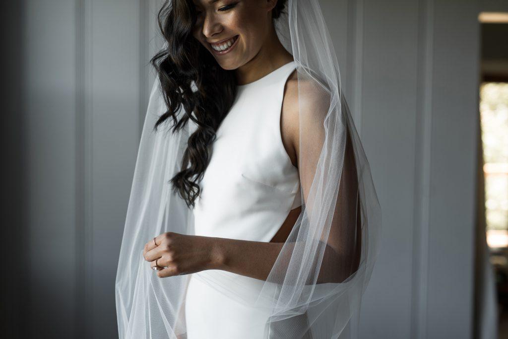 modern bride wearing sarah seven