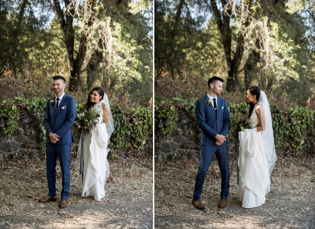 first look wedding at yokayo ranch
