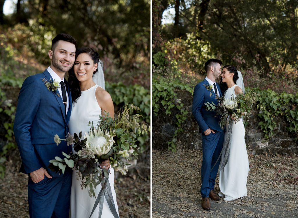 bride and groom wearing blue and green for their wedding