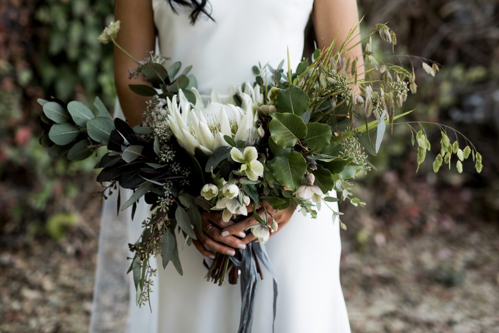 natural green wedding bouquet with hellebore