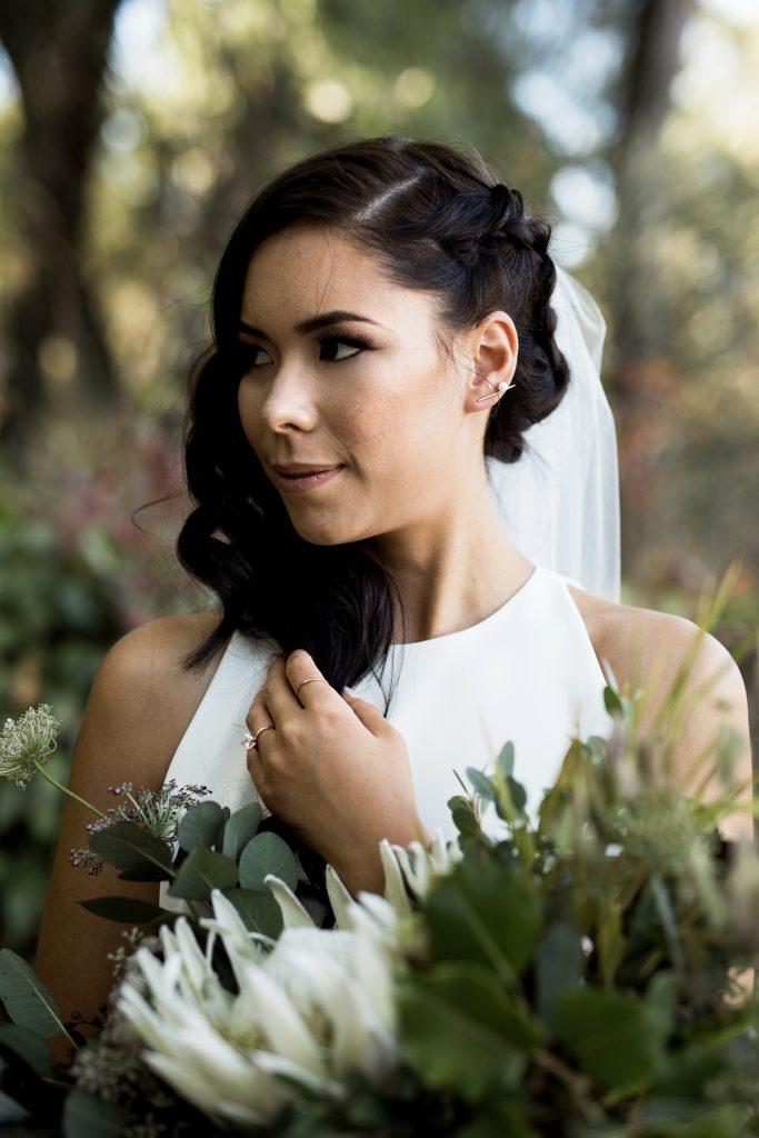 stunning modern bride in her sarah seven gown