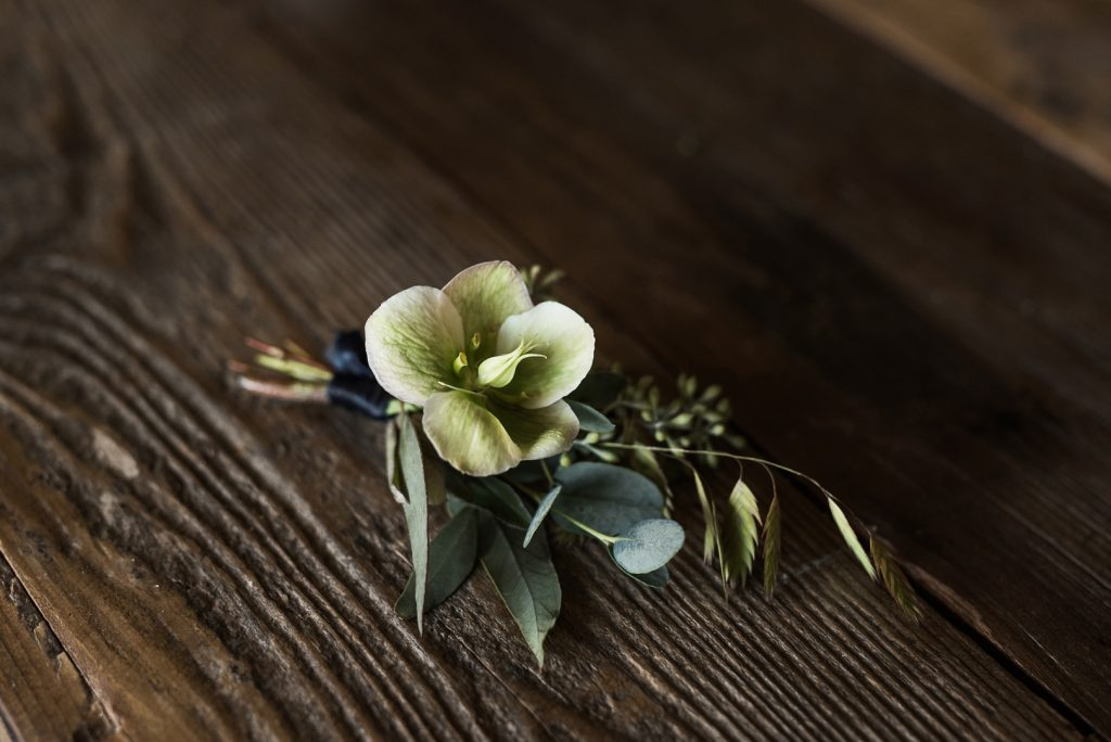 hellebore wedding boutonniere