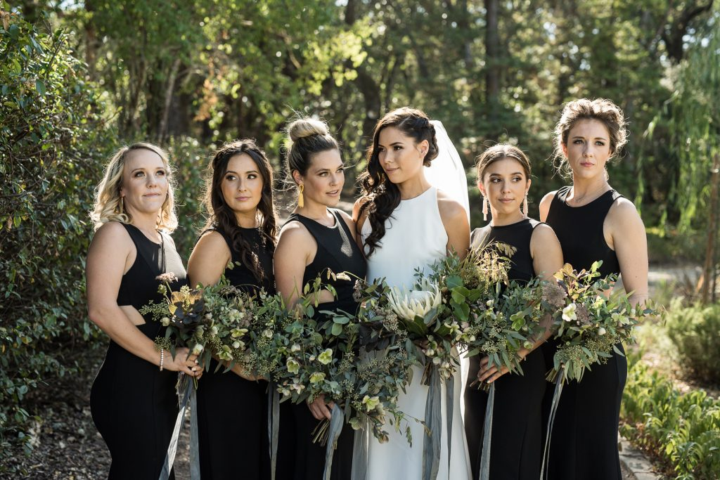 rad bridesmaids at a modern minimal wedding