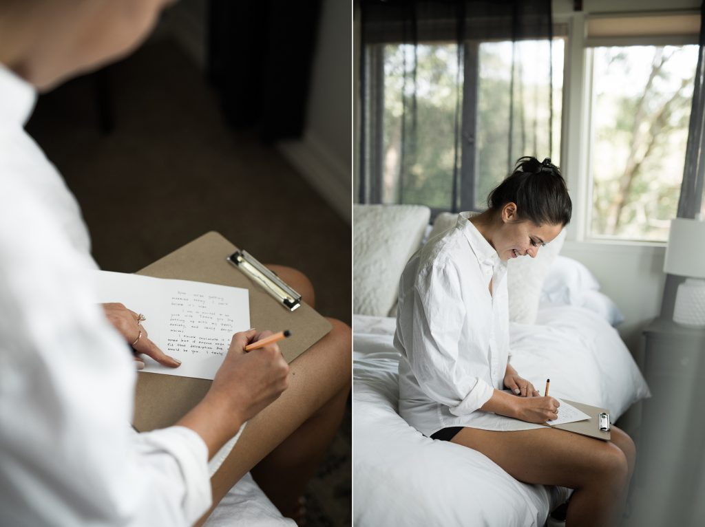 bride writing letter to fiance before the wedding