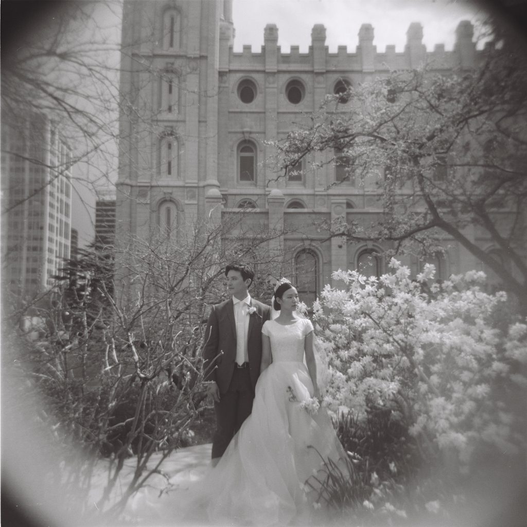 Holga Film Wedding Portrait by Elisha Braithwaite Photography