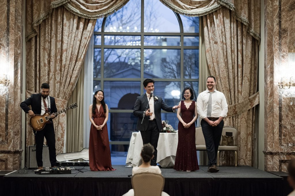 Wedding speeches at Grand America Hotel by Elisha Braithwaite Photography
