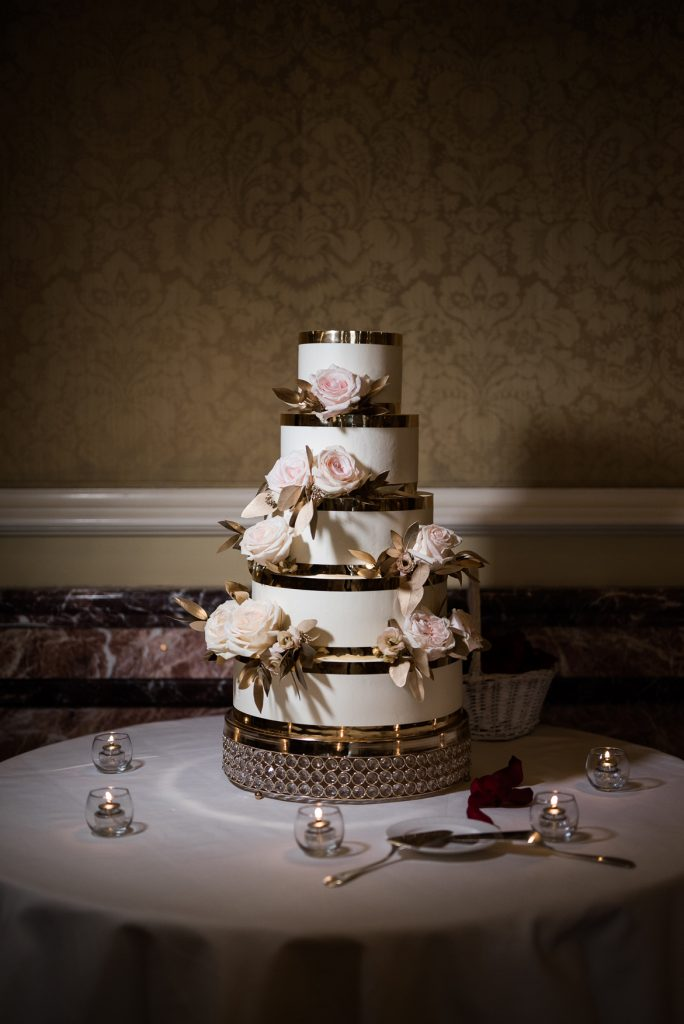 Glam Wedding Cake at Grand America Hotel by Elisha Braithwaite Photography