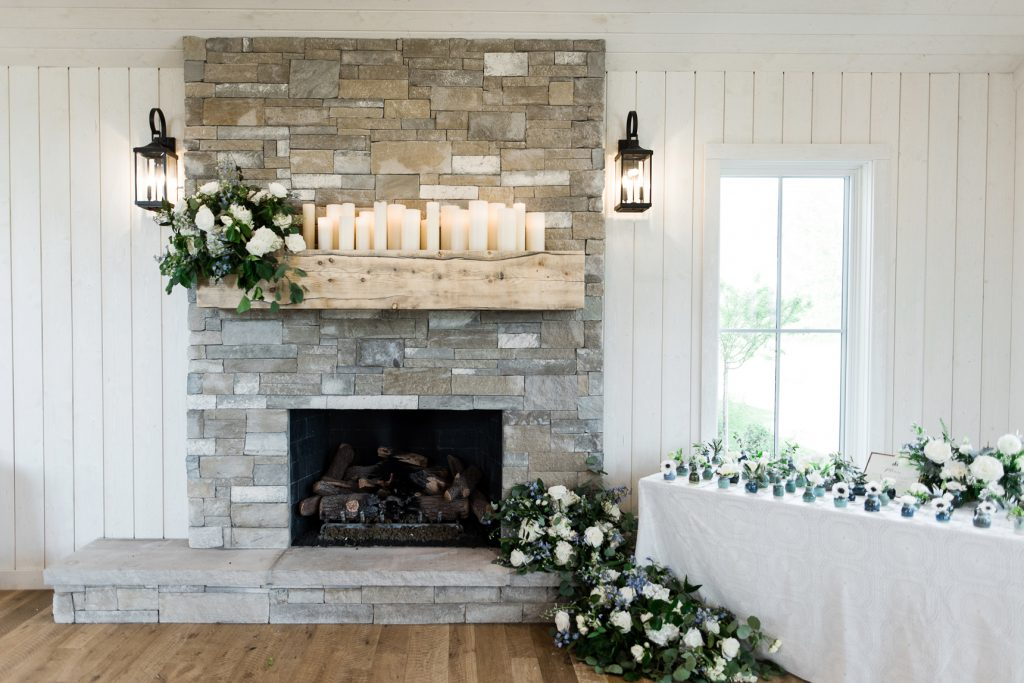 Fireplace Floral Arrangement by Artisan Bloom