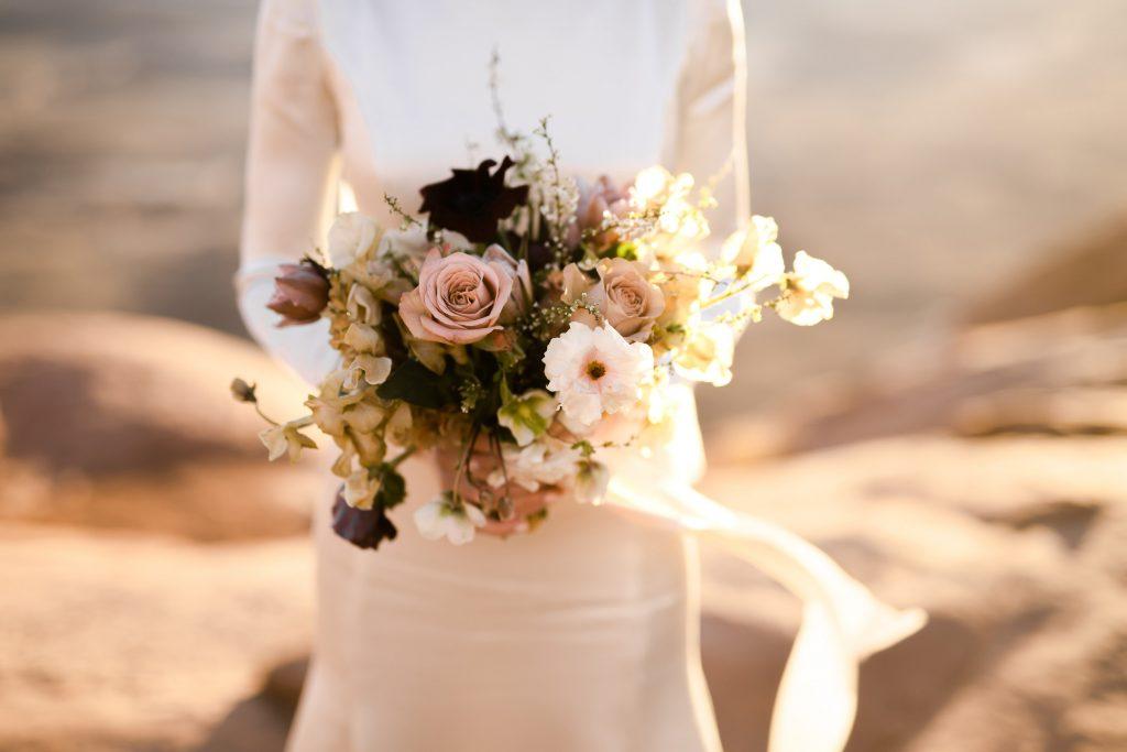 Foraged wedding bouquet in desert